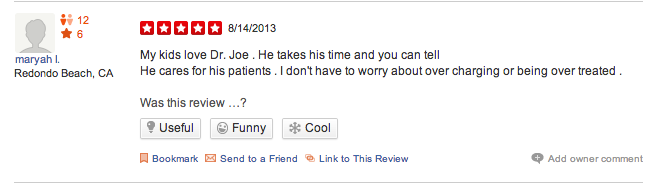 dentist patient review